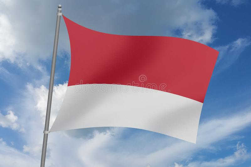 3D  illustration Beautiful Indonesia  waving flag.  royalty free illustration