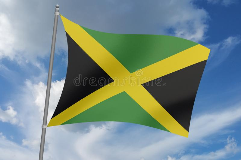 3D  illustration Beautiful  Jamaica waving flag.  vector illustration