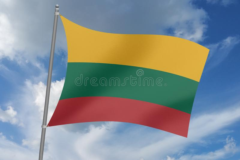 3D  illustration Beautiful Lithuania  waving flag.  vector illustration