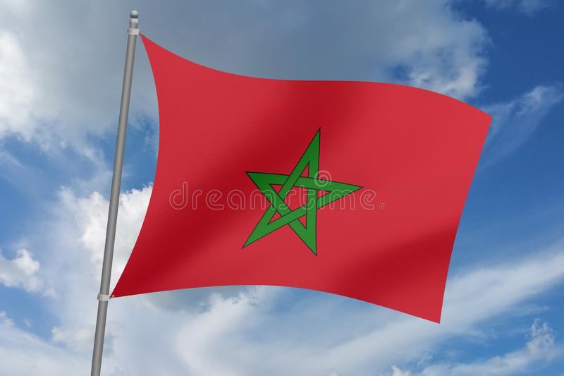 3D  illustration Beautiful Morocco  waving flag.  royalty free illustration