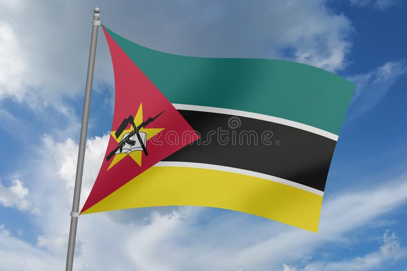 3D  illustration Beautiful Mozambique  waving flag.  stock illustration