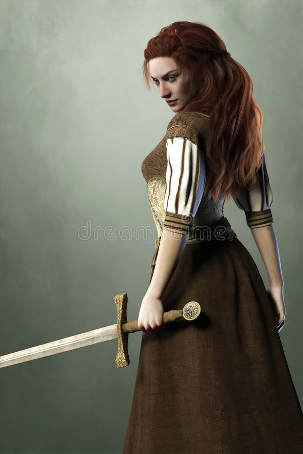 Side view render of a beautiful woman wearing medieval style clothing and holding a sword. 3D illustration of beautiful redheaded woman in medieval fantasy style vector illustration