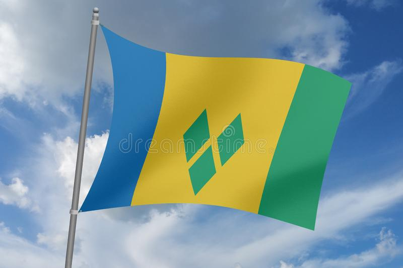3D  illustration Beautiful  SAINT VINCENT AND THE GRENADINES waving flag.  stock illustration