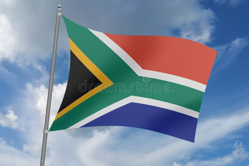 3D  illustration Beautiful South Africa  waving flag.  stock illustration