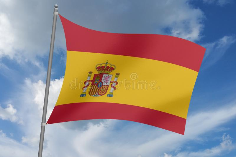3D  illustration Beautiful  Spain waving flag.  royalty free illustration