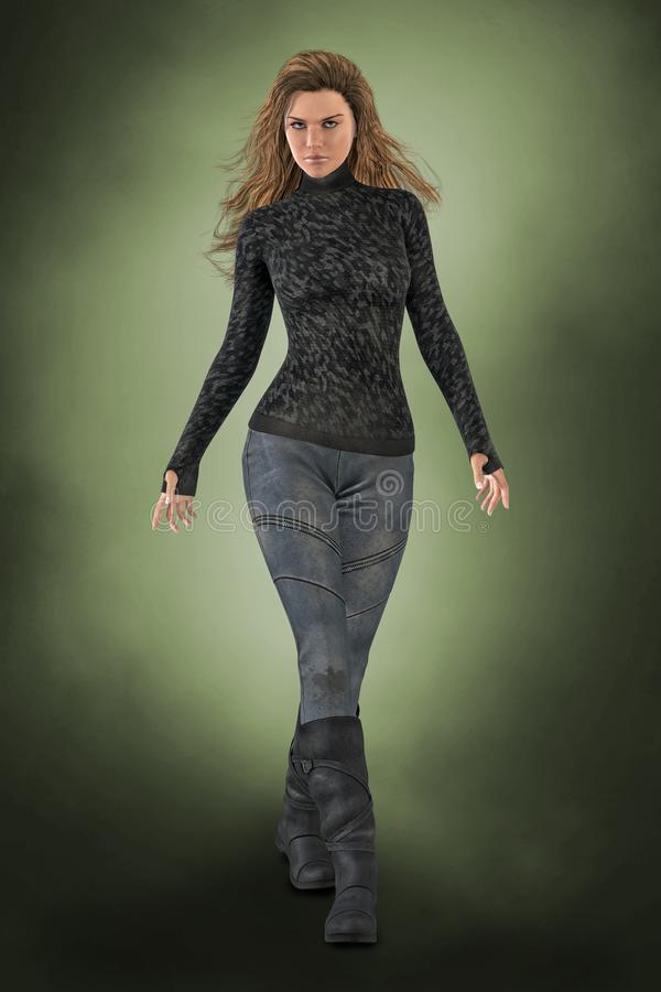 Beautiful Urban Fantasy Woman Walking with Arms Outstretched. 3D illustration of a beautiful urban fantasy woman walking with her arms outstretched. Particularly vector illustration