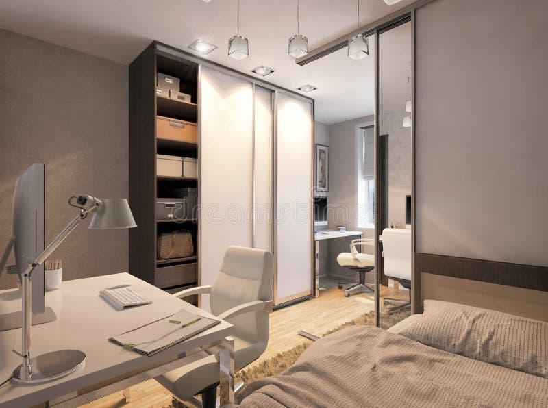 3D illustration of a bedroom for sibling. 3D render of a bedroom for sibling royalty free illustration