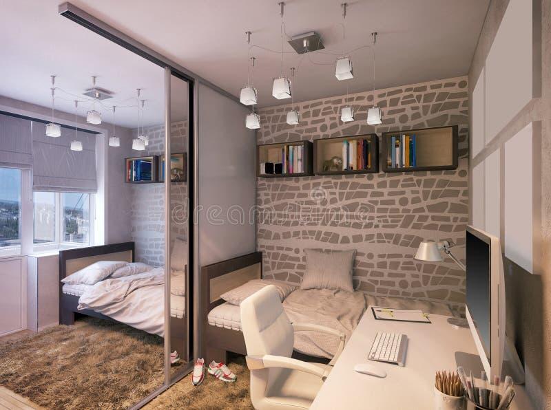 3D illustration of a bedroom for sibling. 3D render of a bedroom for sibling stock illustration