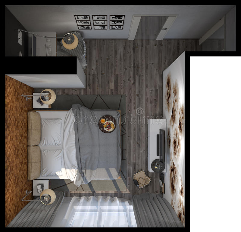 3d illustration of bedrooms in a Scandinavian style. Top view stock illustration