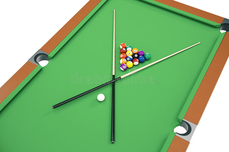 3D illustration Billiard balls on green table with billiard cue, Snooker, Pool game. Billiard concept. 3D illustration Billiard balls on green table with royalty free illustration