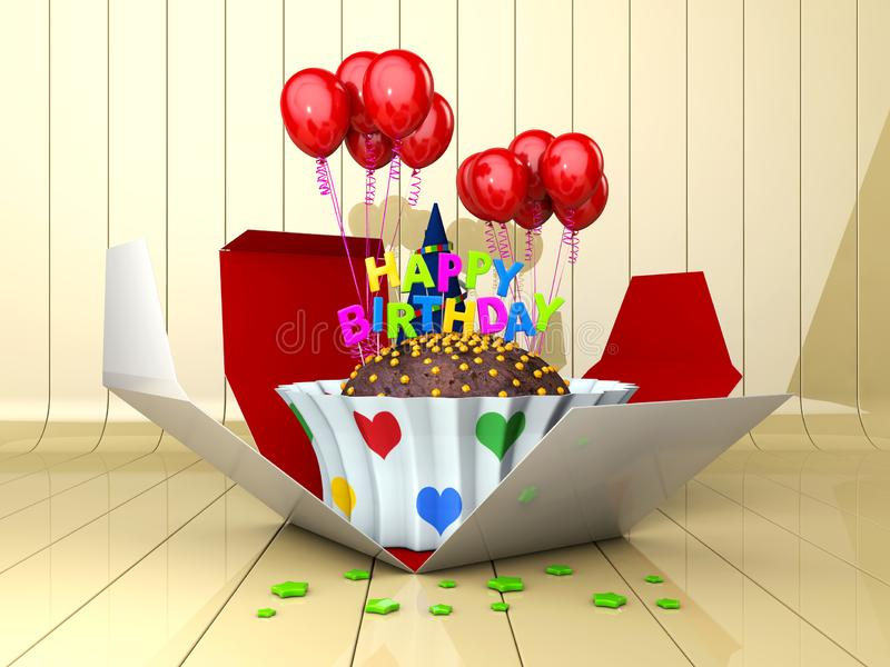 3d Illustration of Birthday cake with red balloons stock image
