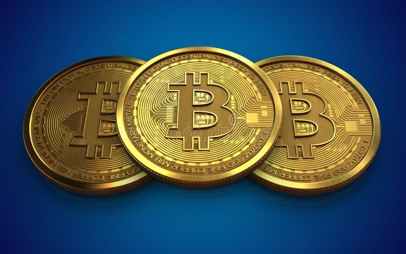 3d bitcoin stack vector illustration