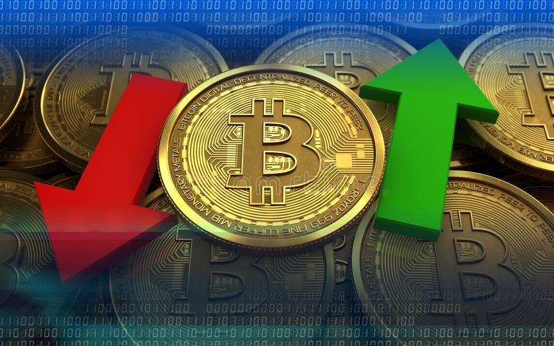 3d Bitcoin Up And Down Arrows Stock Illustration - Illustration of  internet, blue: 112763303