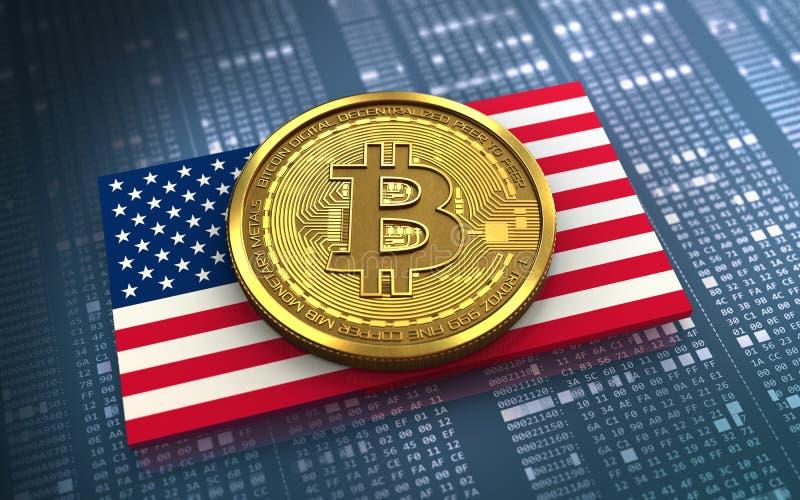 3d bitcoin USA flag stock photo