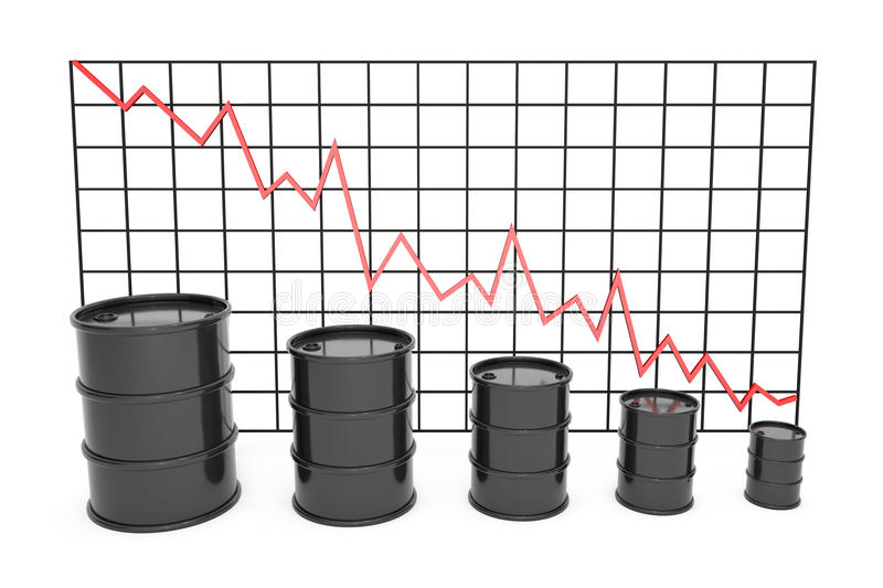 3d illustration: Black barrels of oil graph chart stock market with red line arrow on a grid. Petroleum business, black gold, ga. Soline production. Purchase royalty free illustration