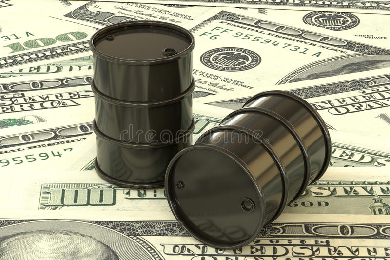 3d illustration: Black barrels of oil lie on the background of dollar money. Petroleum business, black gold, gasoline production. royalty free illustration