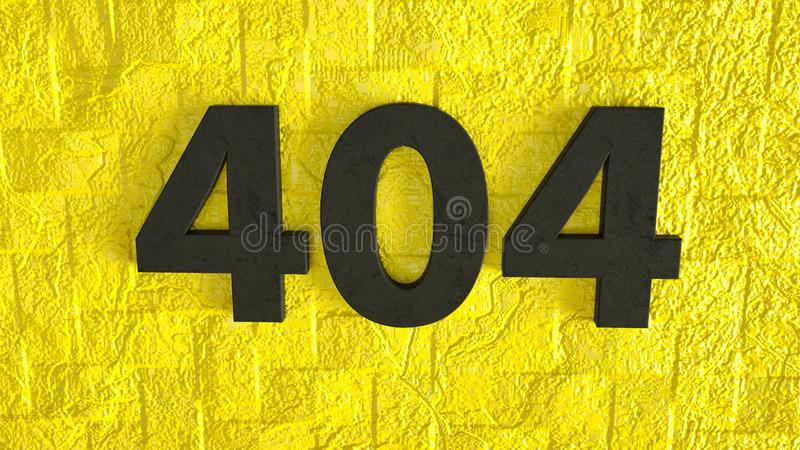 3d render of black 404 error Page not Found on yellow brick wall. Internet connection error. 3d illustration of black 404 error Page not Found on yellow brick vector illustration