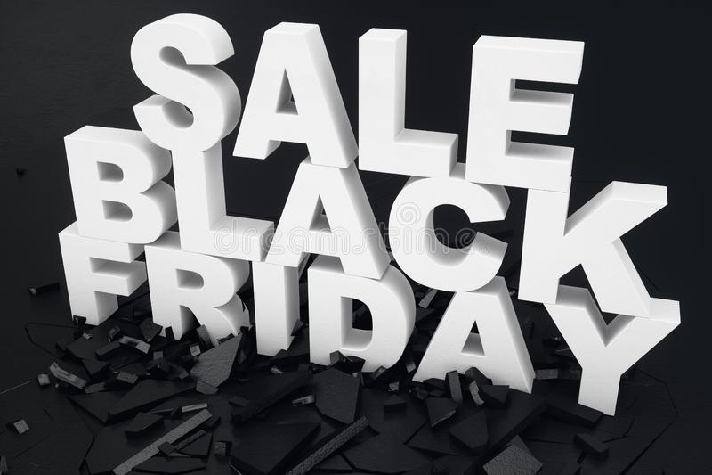 3D illustration Black Friday, message de vente pour le magasin Bannière de achat de magasin d'affaires pour Black Friday texte 3d images stock