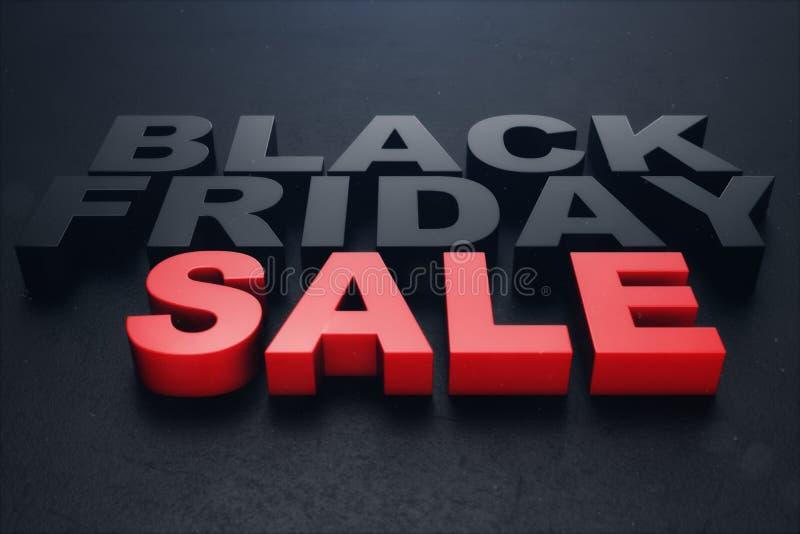 3D illustration Black Friday, sale message for shop. Business shopping store banner for Black Friday. 3D text. Black stock illustration