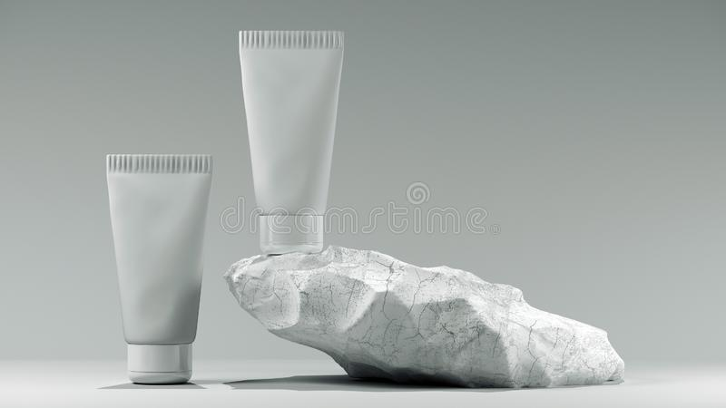 3d illustration. Blank white tube design on a stone mockup front back profile side view set. Clear cream packaging stand stock illustration
