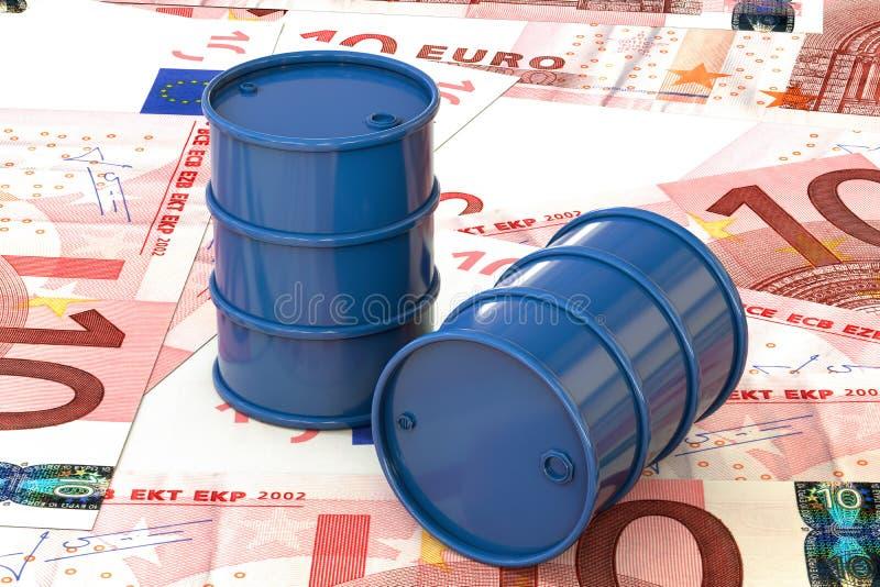 3d illustration: Blue barrels of oil lie on the background of banknote ten Euro, European Union. Money. Petroleum business vector illustration