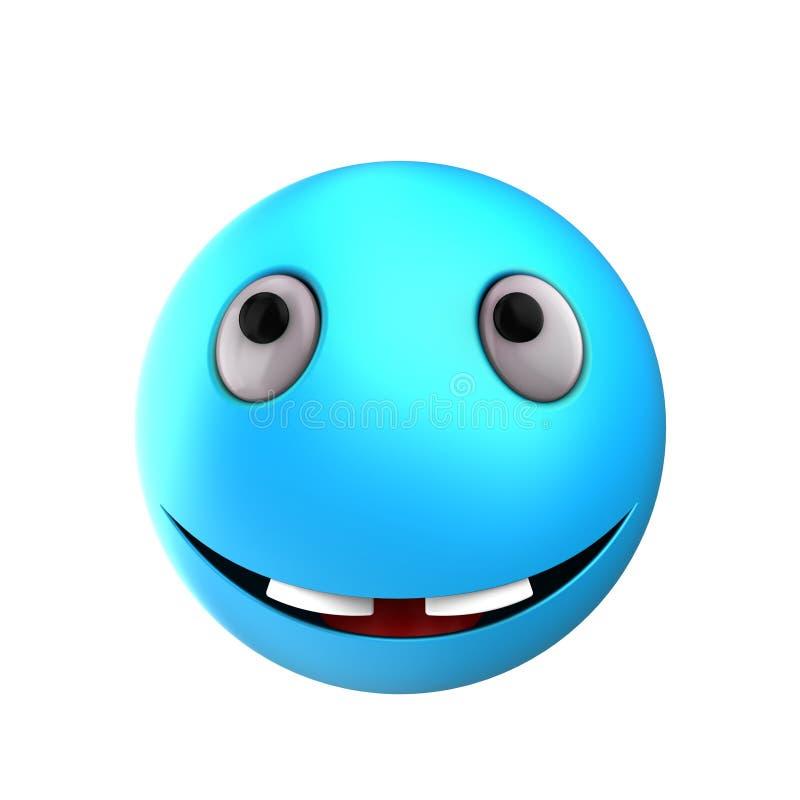 3d blue emoticon smile vector illustration