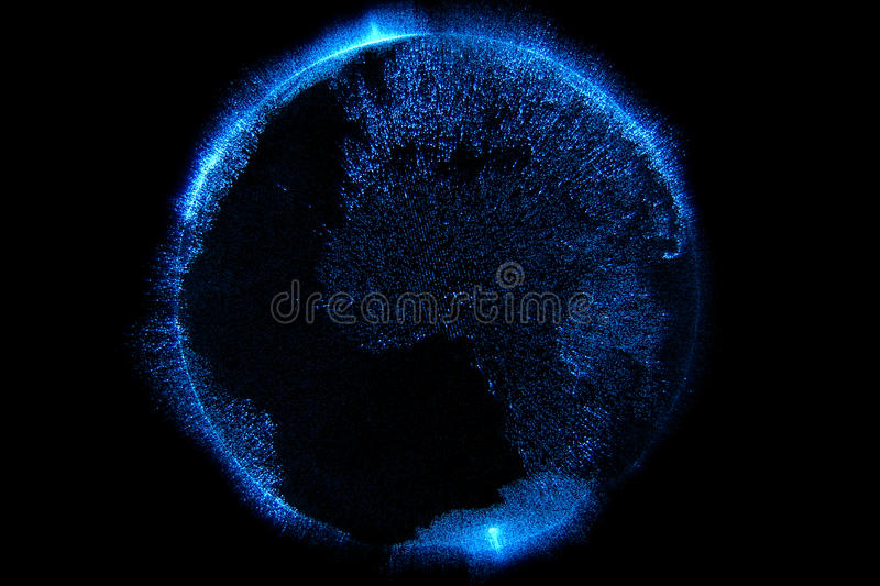 3d illustration of blue particles sparkle glitter with shape of detailed virtual planet earth world globe on black background, royalty free illustration