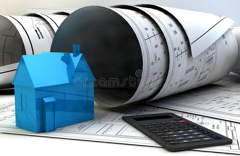 3d illustration of Blueprints, house model and construction equipment stock illustration