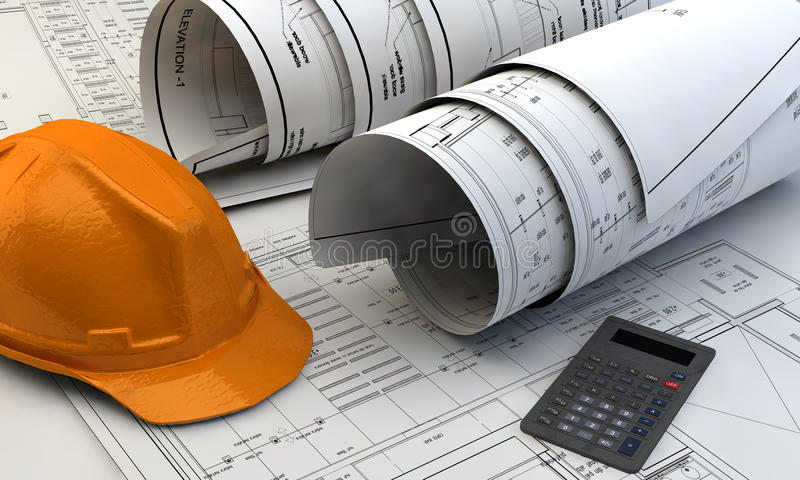3d illustration of Blueprints, house model and construction equipment. On architect working table. Construction Concept