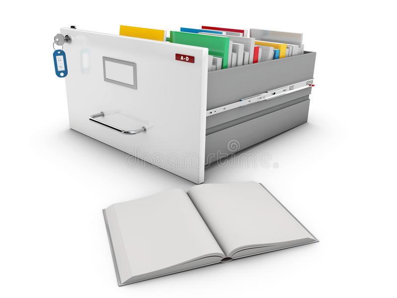 3d Illustration of book beside the open drawer with books.  stock illustration