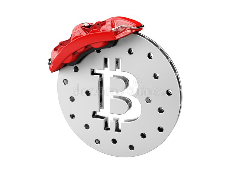 3d Illustration of break disc with silver bitcoin.  royalty free stock photos