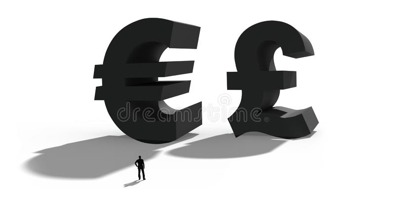 3D Illustration of the british pound and the Euro. Symbol for the british Brexit referendum royalty free stock photo