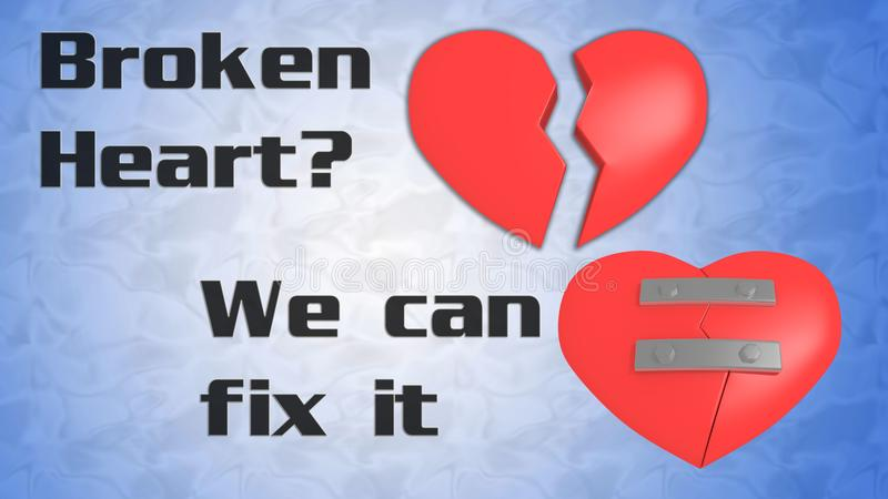Broken Heart? We Can Fix It concept royalty free illustration
