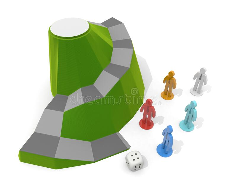 3D illustration. Businessman dice game. A board game set in nature. royalty free illustration