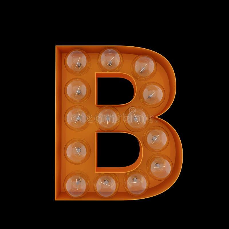 3D Illustration. The capital letter B with light bulbs. vector illustration