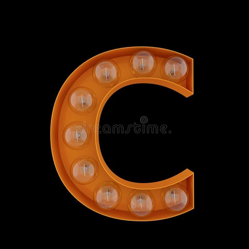 3D Illustration. The capital letter C with light bulbs. vector illustration