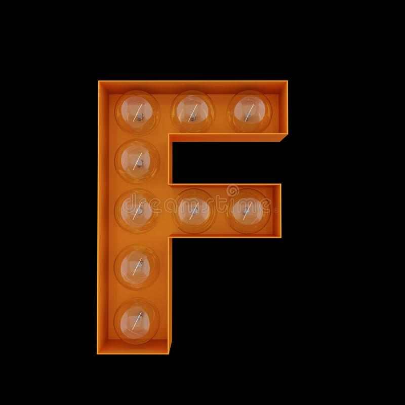 The capital letter F with light bulbs. stock illustration