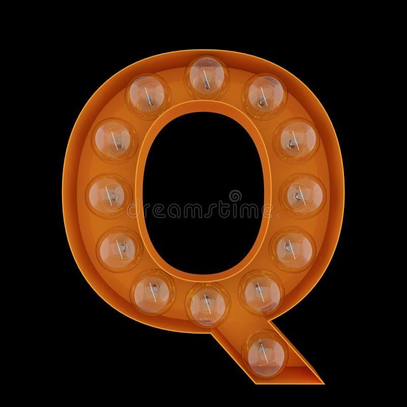 3D Illustration. The capital letter Q with light bulbs. stock illustration