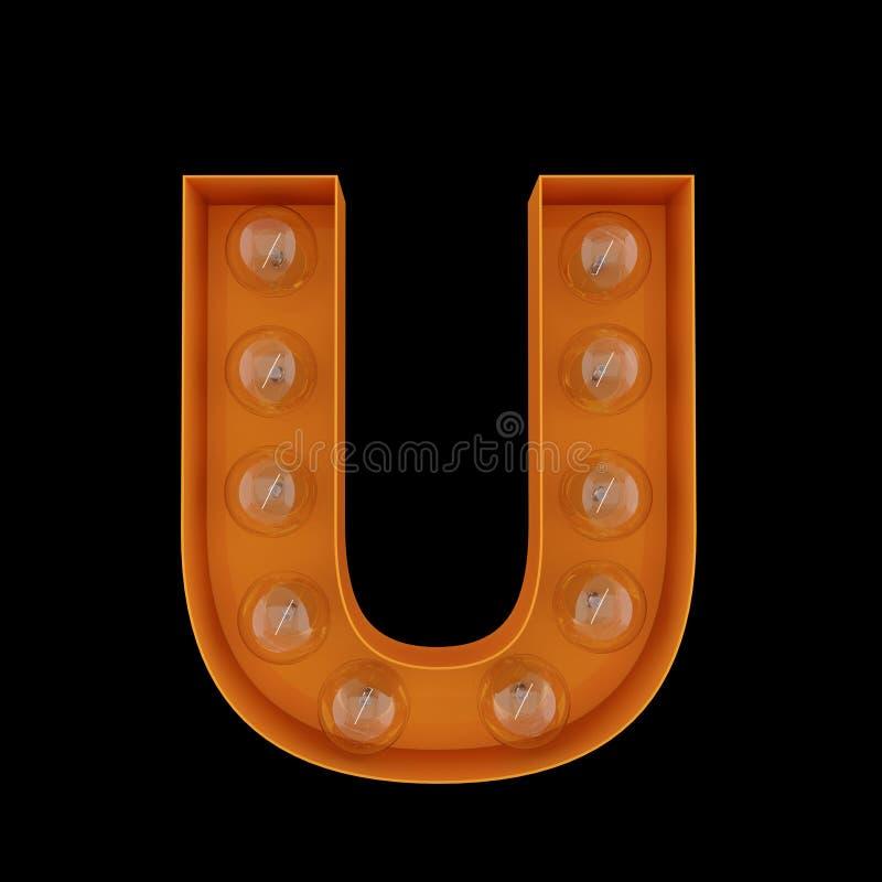 3D Illustration. The capital letter U with light bulbs. stock illustration