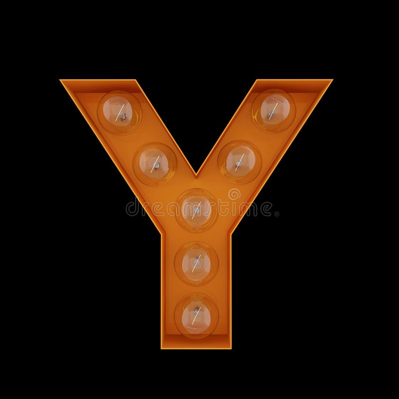 3D Illustration. The capital letter Y with light bulbs. vector illustration