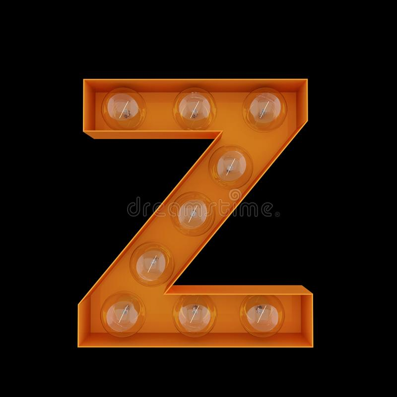 3D Illustration. The capital letter Z with light bulbs. royalty free illustration