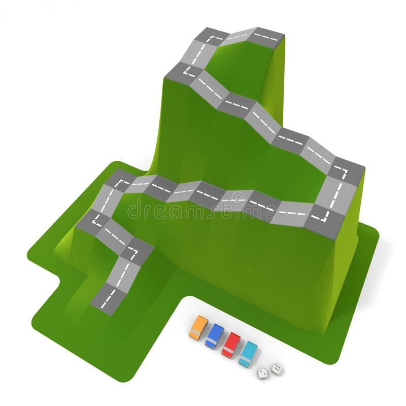 3D illustration. Car board game. Car pieces and dice. royalty free illustration