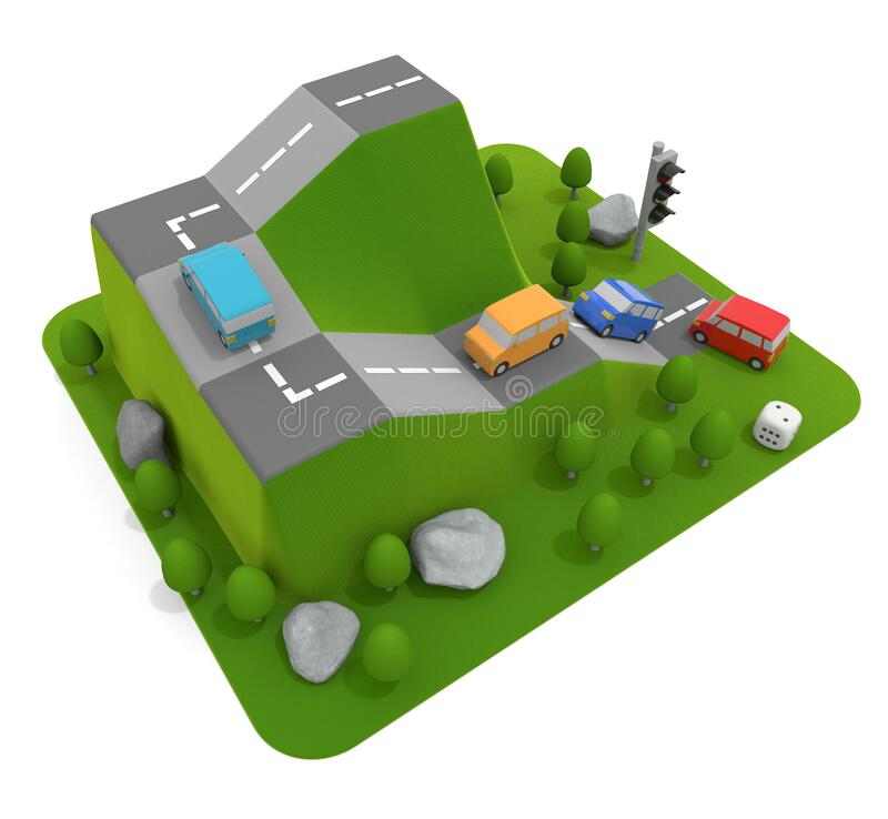 3D illustration. A car climbs the mountain. Car board game. vector illustration