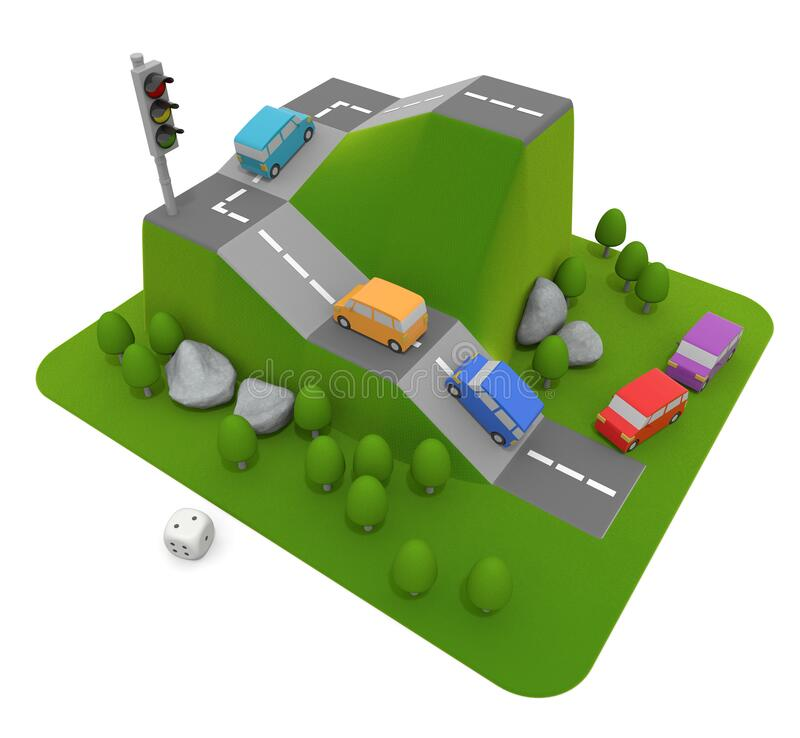 3D illustration. Car competition game. Car is the main board game. stock illustration