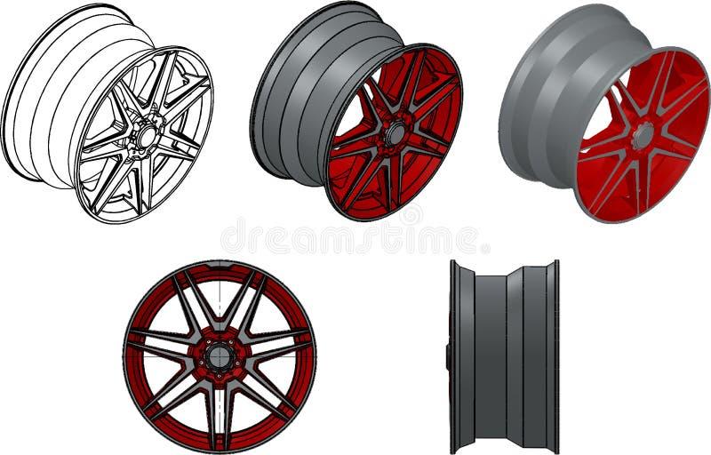 3d illustration car rim. 3d illustration of car rim on white background vector illustration