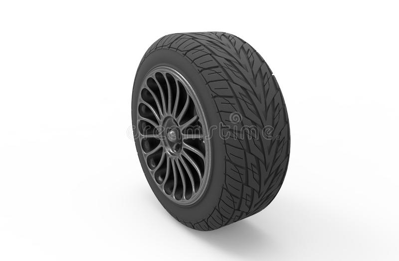 3d illustration of a car wheel on a white background stock illustration