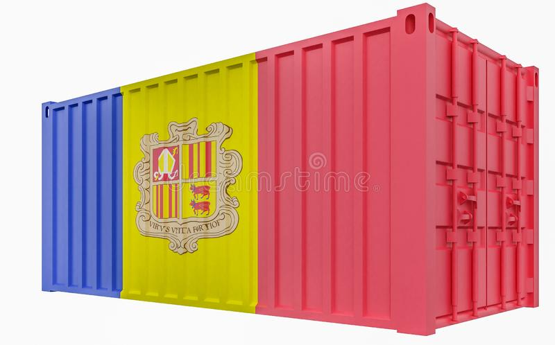 3D Illustration of Cargo Container with Andorra Flag. 3D Render of Cargo Container with Andorra Flag royalty free illustration