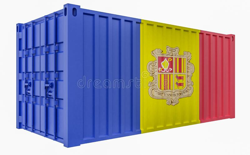 3D Illustration of Cargo Container with Andorra Flag. 3D Render of Cargo Container with Andorra Flag stock illustration