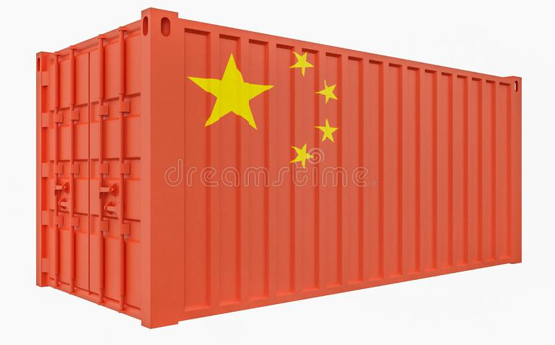 3D Illustration of Cargo Container with China Flag royalty free illustration