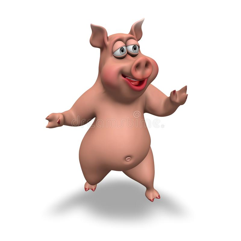Cartoon 3D Pig Character royalty free illustration